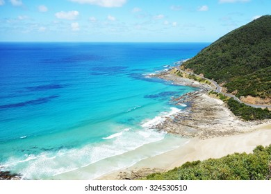 famous and amazing look from up to down blue ocean with mountain it call teddy lookout on great ocean road in lone.