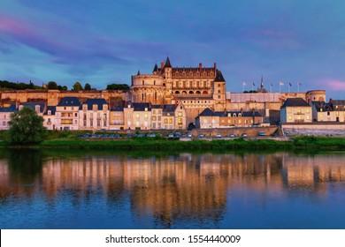 Famous Amboise Castle over Loire river, France