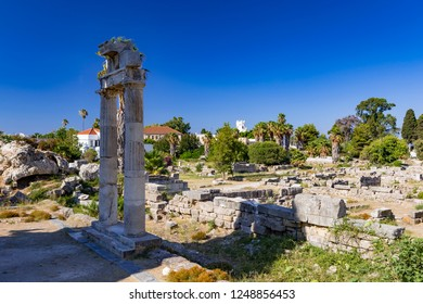 Famous Ancient Agora in Kos town in Kos island in Greece