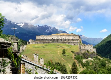 Famous ancient fortress Exilles between Italy and France