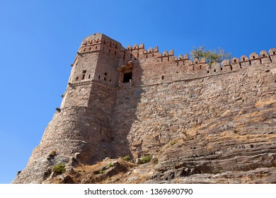 Famous ancient Kumbhalgarh fort in Rajasthan, India. It is a Mewar fortress on the westerly range of Aravalli Hills, in the Rajsamand district near Udaipur. The wall is 38km long.