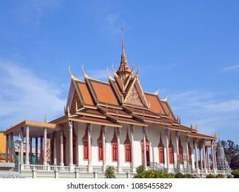 Famous Ancient Silver Pagoda in Phnom Penh, Cambodia