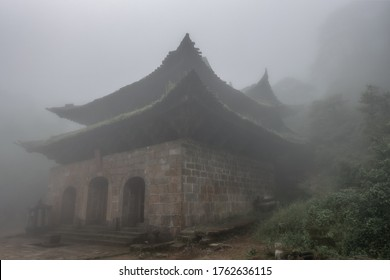 The famous ancient Taoist temple Sanqing Palace in the fog