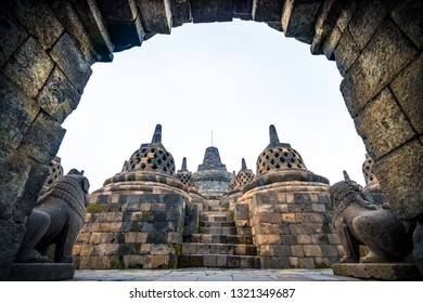 Famous ancient Temple in Borobudur, Jogjakata, Indonesia