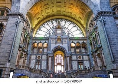 Famous Antwerp Central station interior with unique design. Belgium landmarks