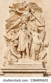 Famous Arc de Triomphe (Triumphal Arch) pillar relief featuring Napoleon relief called Triumph of 1810, Paris, France
