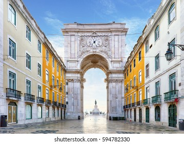 Famous arch at the Praca do Comercio, Lisbon, Portugal