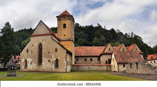 famous architecture of Cerveny klastor (Red Cloister) in Slovakia.