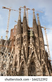 Famous architecture masterpiece Sagrada Familia in Barcelona, Spain