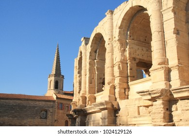 The famous Arles  Roman amphitheater , the most prominent tourist attraction in the city of Arles, France