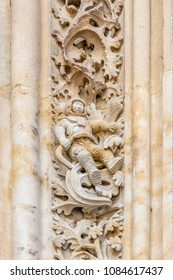 The famous astronaut carved in stone in the Salamanca Cathedral Facade. The sculpture was added during renovations in 1992.