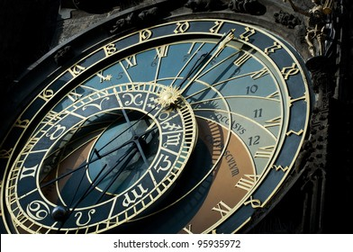 The famous astronomical clock of the old Prague's town hall with the signs of zodiac.