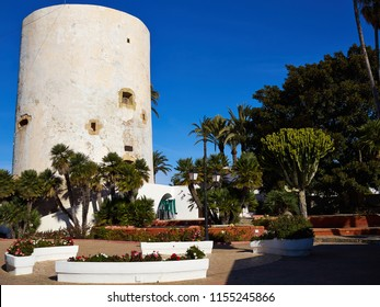 Famous attractive tourist attraction Torre Vigia Berber pirate watchtower Cabo Roig Orihuela Costa  Spain