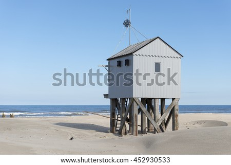 Famous authentic wooden beach hut, for shelter, on the island of Terschelling in the Netherlands.