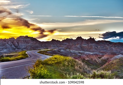 Famous Badlands Loop Road in Badlands National Park, South Dakota, U.S.A. Badlands Loop Road HDR Photography