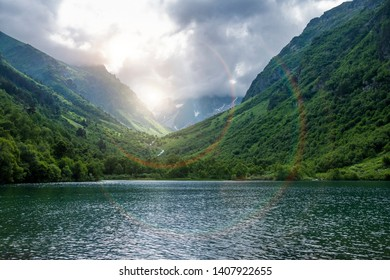 Famous Baduk lakes, Northern Caucasus, Russia, Karachay-Cherkessia. Quiet peace of mountain scenery