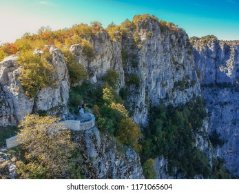 The famous balcony with the amazing view of the impressive Vikos gorge in the Zagoria region near Monodendri in Pindus Mountain in northern Greece. The canyon is the the deepest in Europe.