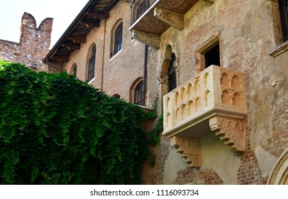 The famous balcony of the Juliet's House in Verona, Italy.