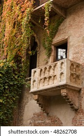 Famous balcony on the house in Verona claiming to be Juliet's