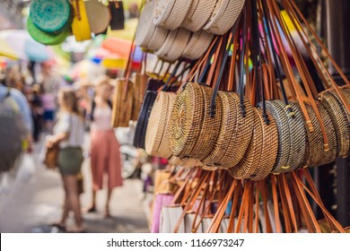 Famous Balinese rattan eco bags in a local souvenir market in Bali, Indonesia