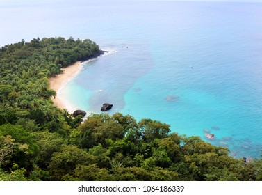 the famous banana beach on the beautiful island of Principe, São Tomé and Príncipe