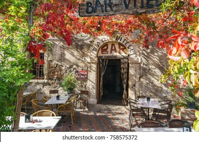 Famous bar Vitelli where the Francis Ford Coppola shooted some of the scenes of the movie Godfather 7 November 2017 Savoca Sicily Italy