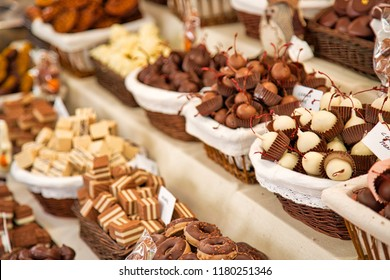 Famous Barcelona street market stand selling chocolate and sweets in Las Ramblas