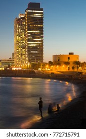 Famous Barceloneta beach on Mediterranean in Barcelona in night lights