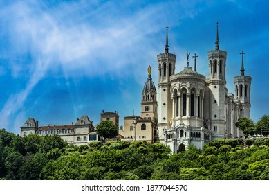 famous basilica notre dame de fourviere in lyon france with blue sky