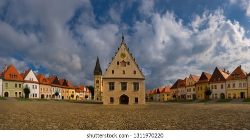Famous baths Bardejov in Slovakia with old historical town square with preserved bourgeois houses with colorful facades listed in UNESCO world heritage
