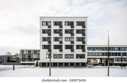 famous Bauhaus in Dessau, Germany in the winter