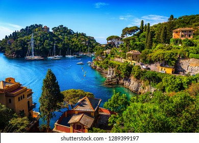Famous bay with colorful mediterranean buildings and spectacular vacation resort, Portofino, Liguria, Italy, Europe