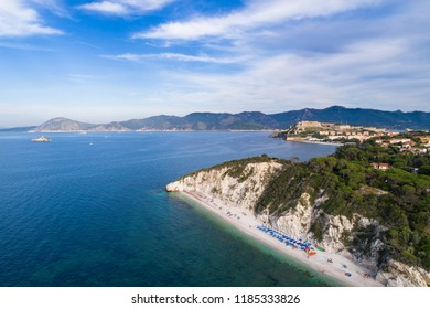Famous beach of Capobianco near Portoferraio. Island of Elba in Italy. Aerial shot