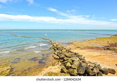 The famous beach of Chipiona at the Coast of the Light (Costa de la Luz), Cadiz, Spain