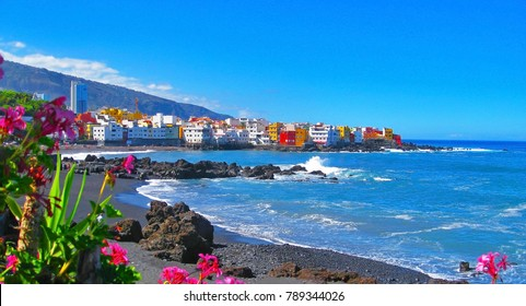 Famous beach Playa Jardin with black sand in Puerto de la Cruz, Tenerife, Spain