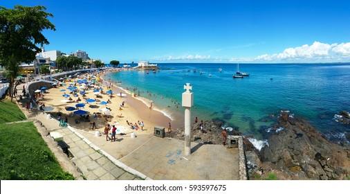 Famous beach of Porto da Barra in Salvador Bahia Brazil