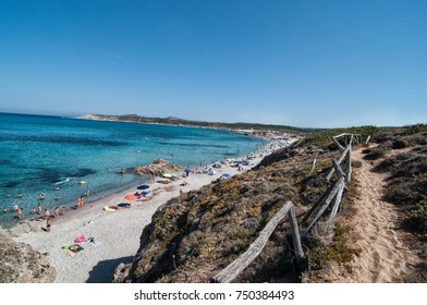 THE FAMOUS BEACH RENA MAIORE IN SARDINIA GALLURA WITH THE BLUE SEA