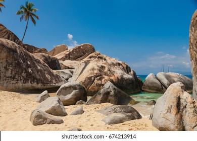 Famous beach and rock formation called The Bath on Virgin Gorda, British Virgin Islands