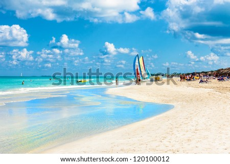 The famous beach of Varadero in Cuba  with a calm turquoise ocean