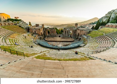 The famous and beautiful ancient greek theatre ruins Taormina, Messina, Sicily, Italy