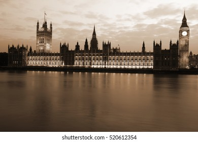 Famous and Beautiful evening view to Big Ben and the House of Parliament with Thames
