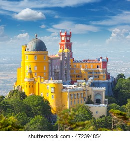 Famous and beautiful Landmark - National Palace of  Pena and blue sky - Sintra, Lisboa, Portugal, Europe