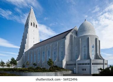 The famous and beautiful large church Hallgrimskirkja in Icelands capital Reykjavik