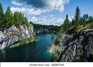Famous beautiful marble quarry Ruskeala, Karelia, Russia