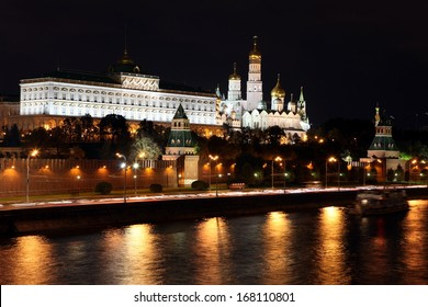 Famous and Beautiful Night View of Moskva river and Moscow Kremlin Palace with Churches in the summer, Russia