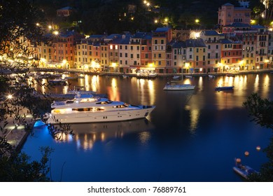 The Famous beautiful Portofino village in Italy at dusk