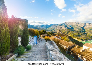 The famous Bell Tower and Gateway at Guadalest near Benidorm in Spain, horizontal- travel background.