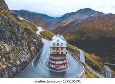 Famous Belvedere Hotel at the turn of Furka pass, Switzerland