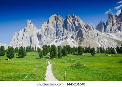 Famous best alpine place of the world - The Dolomites Geisler Odle mountain peaks, South Tyrol, Northern Italy