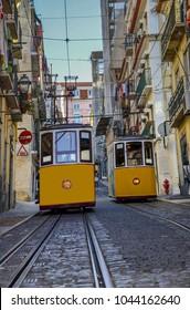 Famous Bica Funicular (Elevador da Bica or Ascensor da Bica), the third oldest of all, inaugurated in 1892, in district of Baixa-Chiado, Lisbon, Portugal.